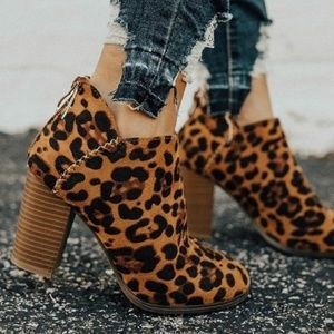 Shoes - NEW Leopard Print Vegan Suede Ankle Booties